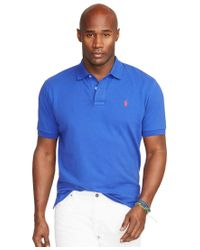 Polo Ralph Lauren | Blue Men's Big And Tall Classic-fit Cotton Mesh Polo Shirt for Men | Lyst