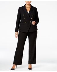 046af196dbae5 Lyst - Tahari Plus Size Double-breasted Pantsuit in Black