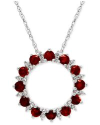 Macy's - Metallic Ruby (1-1/5 Ct. T.w.) And White Topaz (1/5 Ct. T.w.) Pendant Necklace In Sterling Silver - Lyst