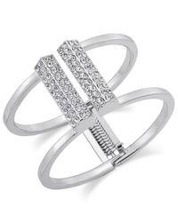 INC International Concepts | Metallic Silver-tone Pavé Bar Hinge Bracelet | Lyst