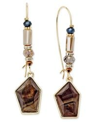INC International Concepts | Multicolor Gold-tone Brown Stone And Bead Wire Drop Earrings | Lyst