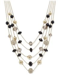 INC International Concepts | Metallic Gold-tone Bead And Crystal Layered Necklace | Lyst