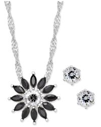 Charter Club | Metallic Silver-tone Black Crystal Floral Pendant Necklace And Earrings Set, Only At Macy's | Lyst
