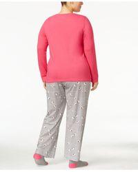 Hue - Pink Plus Size Knit Pajama Set With Socks - Lyst