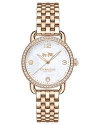 COACH | White Women's Delancey Carnation Gold-tone Stainless Steel Bracelet Watch 28mm 14502697 | Lyst