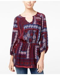 Tommy Hilfiger | Purple Printed Split-neck Tunic | Lyst