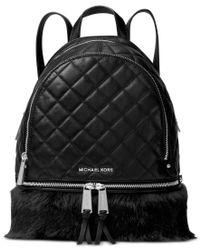 Michael Kors | Black Michael Rhea Zip Medium Backpack | Lyst