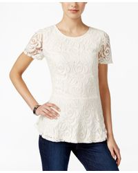 Charter Club Multicolor Petite Lace Peplum Top, Only At Macy's