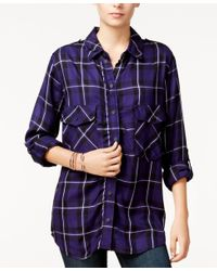 Sanctuary | Blue Plaid Boyfriend Shirt, A Macy's Exclusive Style | Lyst