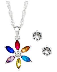 Charter Club | Metallic Silver-tone Crystal Daisy Pendant Necklace And Stud Earrings Set, Only At Macy's | Lyst