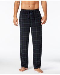 Perry Ellis | Black Men's Plaid Fleece Pajama Pants for Men | Lyst