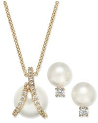 Charter Club | Metallic 2-pc. Set Imitation Pearl And Crystal Pendant Necklace And Stud Earrings | Lyst