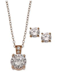 Giani Bernini | Metallic 2-pc. Set Cubic Zirconia Round Pendant Necklace And Stud Earring Set In 18k Rose Gold-plated Sterling Silver | Lyst