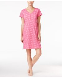 Charter Club Pink Henley-style Printed Sleepshirt, Only At Macy's