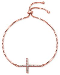 Giani Bernini - Metallic Cubic Zirconia Cross Slider Bracelet In 18k Rose Gold-plated Sterling Silver - Lyst
