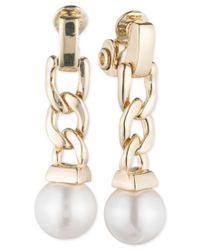 Anne Klein - Metallic Gold-tone Imitation Pearl Chain Drop Earrings - Lyst