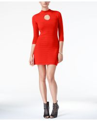 Guess | Red Guia Mock-neck Bodycon Dress | Lyst