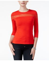 Guess - Red Brianna Illusion Top - Lyst