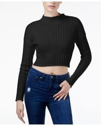 Guess   Black Ribbed Crop Sweater   Lyst