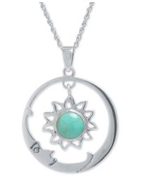 Macy's | Metallic Manufactured Turquoise (7-1/2mm) Sun And Moon Pendant Necklace In Sterling Silver | Lyst
