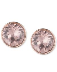 Lonna & Lilly - Pink Rose Gold-tone Crystal Stud Earrings - Lyst