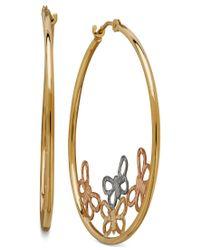 Macy's | Metallic Tri-color Butterfly Hoop Earrings In 10k Gold | Lyst