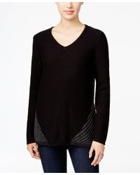 Style & Co. | Black Cable-knit V-neck Sweater, Only At Macy's | Lyst