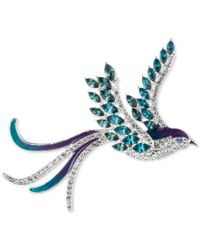 Anne Klein | Silver-tone Bluebird Pave And Crystal Pin, A Macy's Exclusive Style | Lyst