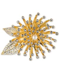 Anne Klein | Metallic Gold-tone Crystal Flower Burst Pin, A Macy's Exclusive Style | Lyst