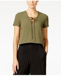 Catherine Malandrino | Green Victoria Crepe Lace-up Top | Lyst