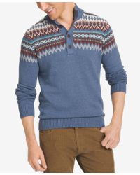Izod | Blue Men's Fair Isle Quarter-button Sweater for Men | Lyst