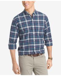 Izod | Blue Men's Big And Tall Plaid Long-sleeve Shirt for Men | Lyst
