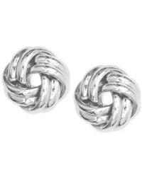 Anne Klein   Metallic Silver-tone Knot Stud Earrings   Lyst