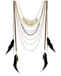 INC International Concepts | Black Gold-tone Multi-row Feather Necklace | Lyst