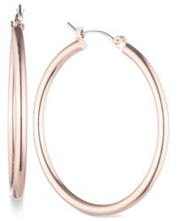 Nine West | Metallic Rose Gold-tone Large Hoop Earrings | Lyst
