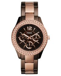 Fossil | Pink Women's Stella Two-tone Stainless Steel Bracelet Watch 38mm Es4079 | Lyst