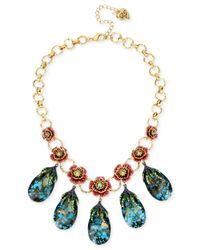 Betsey Johnson | Multicolor Gold-tone Pavé Rose And Blue Crystal Statement Necklace | Lyst
