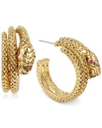 Betsey Johnson - Metallic Gold Snake Hoop Earrings - Lyst