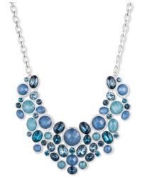 Nine West | Silver-tone Blue Multi-stone And Crystal Statement Necklace | Lyst