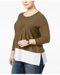 Style & Co. | Multicolor Plus Size Layered-look Sweater, Only At Macy's | Lyst