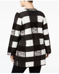 "Alfani - Black Plus Size Intarsia-knit ""patchwork"" Sweater Coat - Lyst"