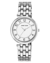 Anne Klein | Metallic Women's Silver-tone Bracelet Watch 34mm Ak-2701wtsv | Lyst