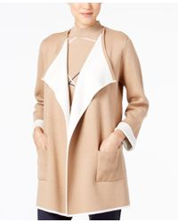 Alfani | Natural Colorblocked Open-front Cardigan, Only At Macy's | Lyst