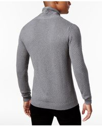 Sean John | Gray Men's Cable-knit Shawl-collar Sweater for Men | Lyst