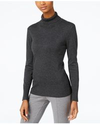 Cable & Gauge - Gray Ribbed Turtleneck Sweater - Lyst
