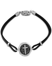 Effy Collection | Metallic Effy Men's Black Leather Cross Disc Bracelet In Sterling Silver for Men | Lyst