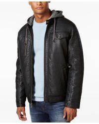 Sean John   Black Men's Faux-leather Hooded Jacket for Men   Lyst