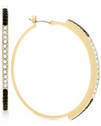 Vince Camuto | Metallic Gold-tone Clear And Jet Crystal Hoop Earrings | Lyst