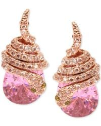 Betsey Johnson | Rose Gold-tone Pink Crystal Pave Snake Stud Earrings | Lyst