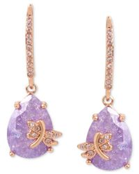 Betsey Johnson | Multicolor Rose Gold-tone Lavender Stone Dragonfly Drop Earrings | Lyst